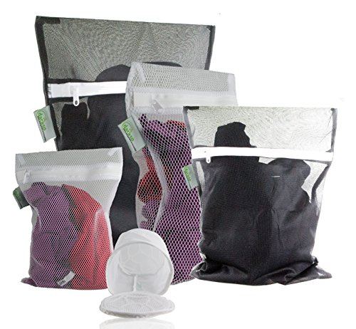 Wäschebeutel Premium 5er Set, Wäschenetze in schwarz & weiss, inkl. BH Netz