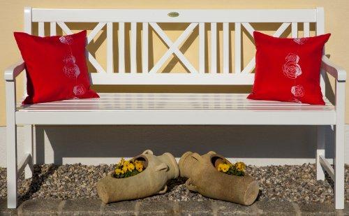 Landhausbank LÜBECK weiß lackiert, 3-Sitzer aus Eukalyptus 100% FSC, B 154 x H 89 x T 59 cm - 2