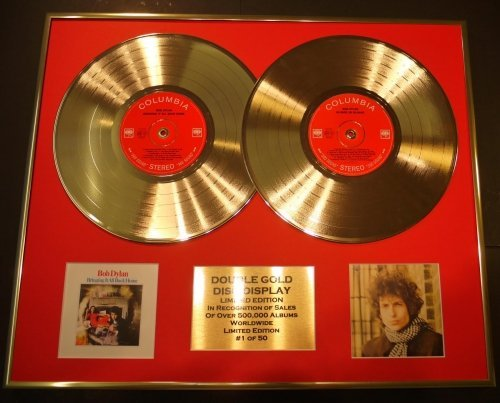 GOLD RECORD Bob Dylan/Doble CD Disco Dorado Disco Display LTD. EDICION/COA Bringing IT All Back Home & Blonde ON