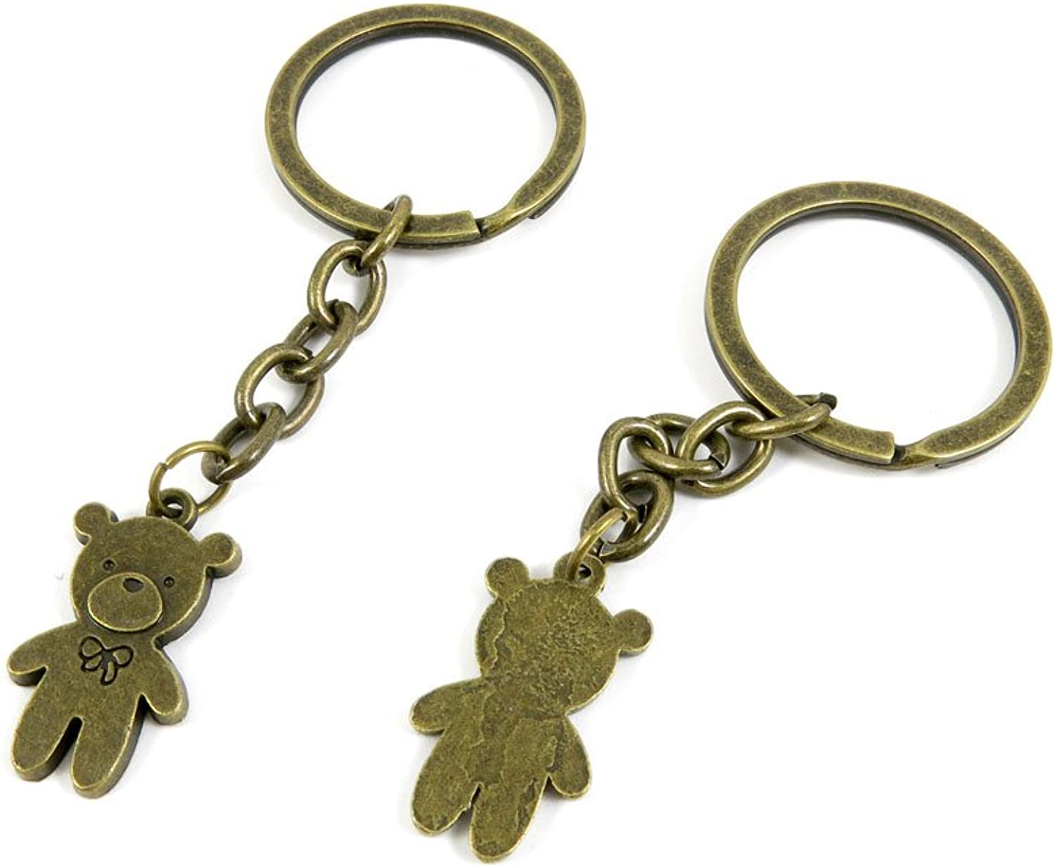 100 PCS Keyrings Keychains Key Ring Chains Tags Jewelry Findings Clasps Buckles Supplies Y7MP0 Teddy Bear