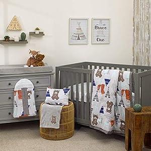 NoJo Dreamer Woodland/Aztec Animal 8 Piece Nursery Crib Bedding Set, Blue/Grey