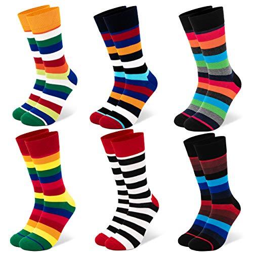 Occulto 6 Paar bunte Herren Socken in verschiedenen Mustern | Farbige Herrensocken aus Baumwolle in verschiedenen Farben mit Streifen, Punkten, kariert uvm. (43-46, 6 Paar | Mix1)