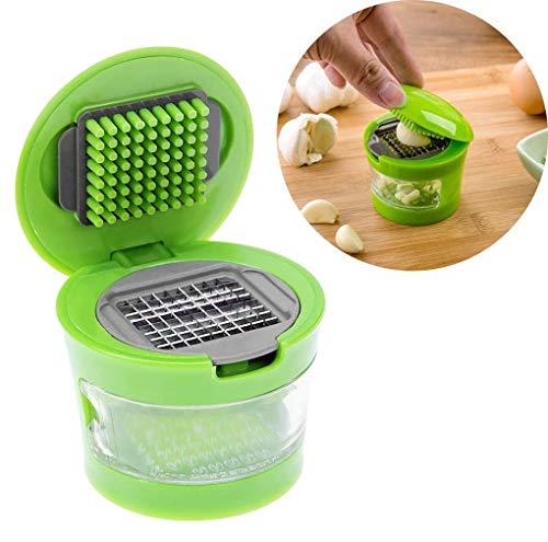 Trituradora de Ajos con Olla de Almacenamiento Y Cuchillas De Acero Inoxidable,Fácil de limpiar,para Cortar y prensar ajos, Picador, rallador de pelador, Dicer, Color Verde