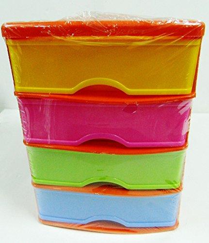 casier Tour de rangement 4 tiroirs Compartiment petits objets bureau stylos