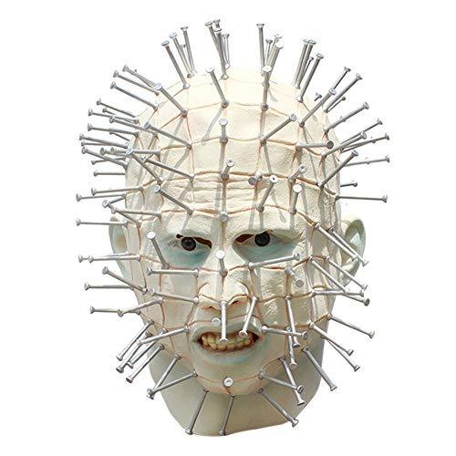 belupai Herren Monster Horror Hellraiser Pinhead Maske Halloween Kostüm Zubehör Erwachsene Kostüm Maske für Halloween Cosplay Party