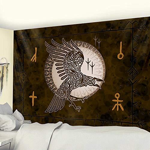 KHKJ Cuervo Vikingo símbolo Misterioso decoración del hogar Tapiz brujería Tapiz Hippie decoración Bohemia Mandala Estera de Yoga A2 200x180cm