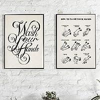 ZYQYQ 装飾画ウォールアートヴィンテージポスター手を洗うキャンバス絵画書道印刷写真家の装飾40x60cmx2額装なし