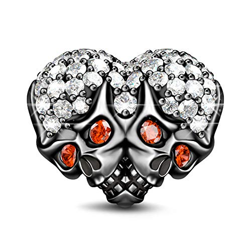 GNOCE Schädel Perlen Charm Anhänger 925 Sterling Silber Schwarz plattiert Charms mit Rot Zirkonia Charm Schmuck für alle Armbänder Halsketten Geschenke Bijouterie für Damen Männer (Style-1)