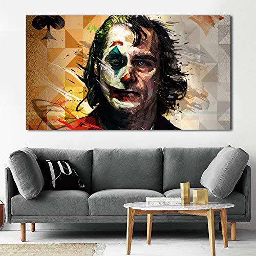 ganlanshu Filmporträt Joker Drucken auf Leinwand für Kunstwerke gedruckt auf Poster Leinwand Malerei Home Decor Wohnzimmer,Rahmenlose Malerei,70x120cm