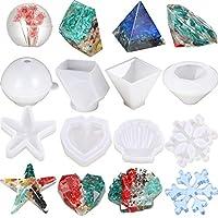8ピース DIY シリコン樹脂型 エポキシ鋳造型 丸型 ピラミッド ダイヤモンド ストーン 雪の結晶 ハート型 ヒトデ 貝殻 DIYジュエリー制作 クラフト用