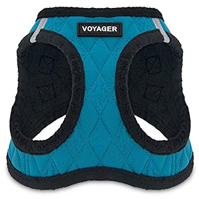 Voyager by Best Pet Supplies - Step-in Plush Dog Harness with Padded Vest , (Turquoise Plush, X-Large)