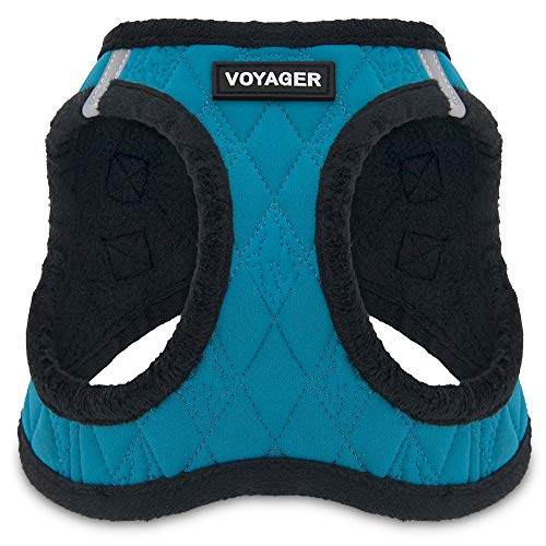 Voyager Step-In Plush Dog Harness – Soft Plush, Step In Vest Harness for Small and Medium Dogs – By Best Pet Supplies - Turquoise Plush, Small (Chest: 14.5