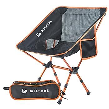 MECHHRE Chaise de Camping Pliable avec Sac de Transport - Compacte, Ultra Légère Chaise de Plage Pliable - Hauteur Réglable Chaise de Jardin Robuste et Portable pour la Randonnée, Le Camping(Orange)