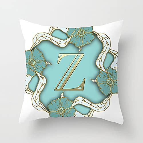 Beydodo Cojin Cama,Flores con Letra Z,Funda Cojines Exterior 50x50 Cojin y Funda Blanco Azul Oro
