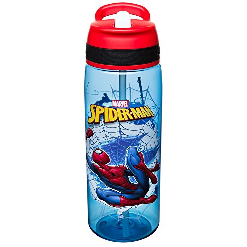 Zak Designs Marvel Comics Water Bottle with Built-In Carrying Loop, Durable Water Bottle Has Wide Mouth and Break Resistant Design (25oz, Spider-Man, BPA-Free)