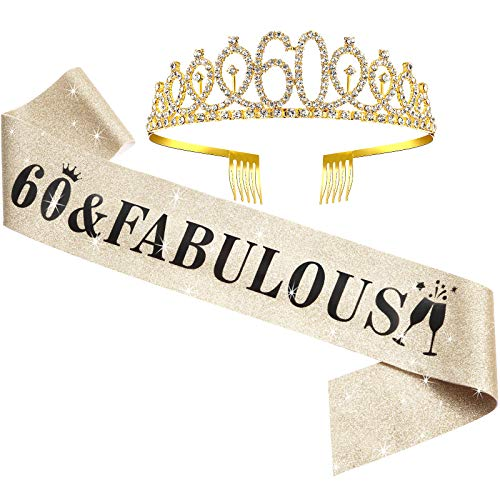 WILLBOND 60th Birthday Sash and Tiara Set 60th Birthday Party Decorations for Women Birthday Party Favors