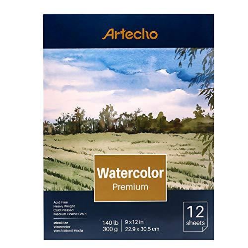 Artecho - Blocco di carta per acquerello, 12 fogli (63,5 kg/300 g/m²), pieghevole, senza acidi, grana media, carta pressata a freddo,