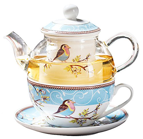 Jusalpha Glass Teapot with a Fine China Infuser Strainer, Cup and Saucer Set,Teapot and Teacup for One, Tea for one #05 (Blue)