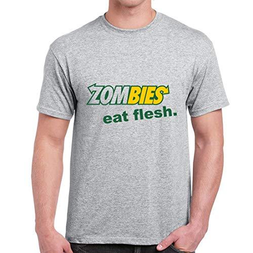 Zombies Eat Flesh Subway Parody T-Shirt Funny Vintage T Shirt Top