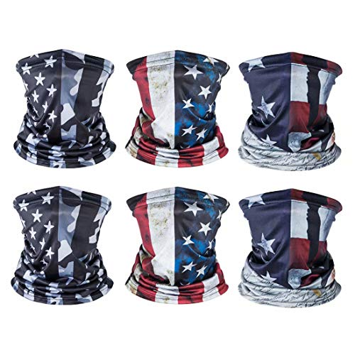 6 Pack American US Flag Face Bandana, Sun UV Dust Protection Reusable Washable Half Mask Scarf, Cooling Cloth Neck Gaiter Motorcycle Running Hiking Cycling Balaclava Headwear for Men Women-B