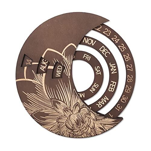 FGENLD Calendario de Pared de Discos giratorios de Luna de Madera, Calendario Circular Giratorio Retro hogar DIY decoración Tallada a Mano Regalo (Brown)
