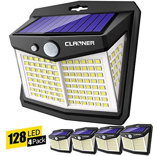 Claoner Luz Solar Exterior, 128 LED/ 3 Modos Foco Solar con Sensor de Movimiento 270º lluminación Lámpara Solar de Seguridad Impermeable IP65 para Entrada Garaje Patio y Jardín
