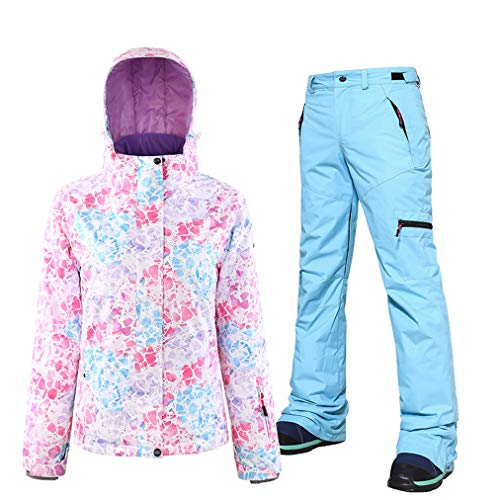 HSYD Ski Jas en Broek Set van 2, Dames Ski Suits, Winddicht Waterdicht Ademend Sneeuwpak, Snowboarden Coverall Outfit, Great Gear for Winter