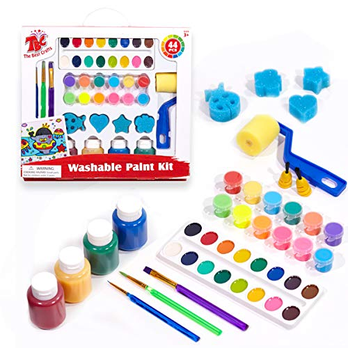 TBC The Best Crafts Washable Paint Set for Kids, Acrylic Paint Pots, Semi-moist Watercolor, Finger Paints, Paint Brushes & Sponge Roller & Stamps, Value Paint Set, Children Early Learning Art Supplies