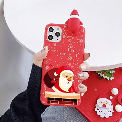 TangMengYun Phone 12 Case Phone Case Cute 3D Doll Cartoon Christmas Santa Reindeer Tree Soft Phone Case Compatible with Iphone 11 Pro Max 12 X XS XR 7 8 Plus SE 2020 Cover Gift Universal