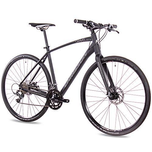 CHRISSON Bicicleta Gravel Urban One de 28 pulgadas, color negro mate, 52 cm, con cambio Shimano...