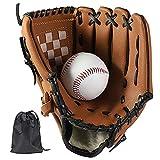 LeapBeast Guante de Béisbol, Jarra Softball Guantes Mano Izquierda Suave PU con 1 Pelota Suave para Niño/Adolescente/Adulto Profesional de Béisbol (Marrón, 12.5')