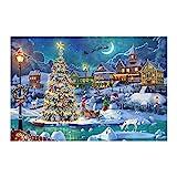 FUU 1000 Piezas Navidad Puzzles Papá Noel Juguetes Grande Educativos para Niños Y Adultos Puzzle De Vívidos Colores Láminas Impresión, Ideal para La Colección De Juegos Familiares