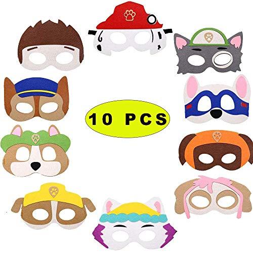 TOPHOPE iermasken für Kinder Filz, Puppy Party Masken,Paw Dog Masken,Geburtstag Augenmaske,Charakter Masken,Halbmasken Kinder für Oster Geschenke Dress Up Party Supplies für Kinder Geschenke 10 Stück
