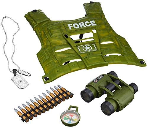 JohnToy - Kit de disfraz de soldado, material plástico, (chaleco, prismáticos, brújula, cartuchos)