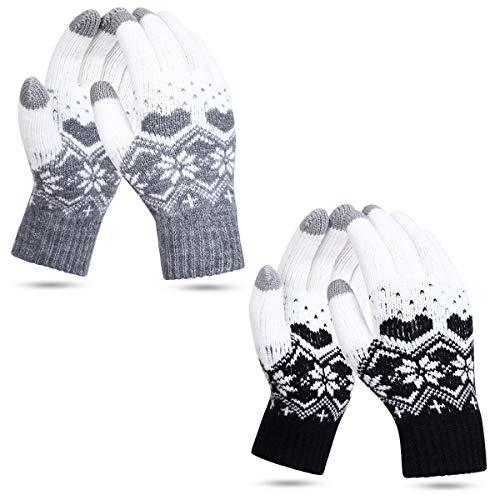 JORYEE Touchscreen Winterhandschuhe - Strick Handschuhe Fingerhandschuhe Warm Fäustlinge Strickhandschuhe Sport Fleecefutter Weihnachten Handschuhe Als Geschenk (Schnee-Schwarz+Grau)