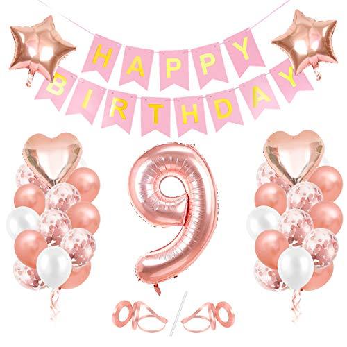 Globos de Cumpleaños 9 año, 9 Oro RosaDecoraciones, Pancarta de Feliz Cumpleaños, Decoración de Cumpleaños para 9 Niña, Globos de Confeti y Aluminio Oro Rosa, Fiesta Regalos para Niña y Mujeres y Bebe