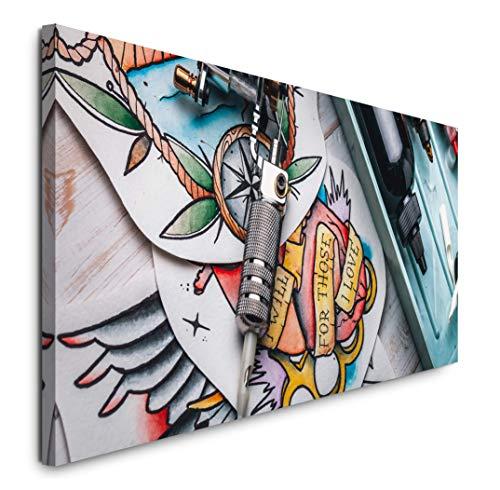 Paul Sinus Art GmbH Tattoo Studio 120x 50cm Panorama Leinwand Bild XXL Format Wandbilder Wohnzimmer Wohnung Deko Kunstdrucke