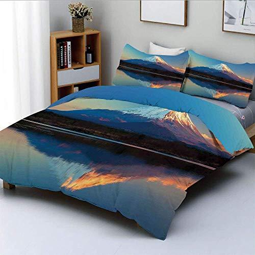 Bettbezug-Set, Mount Fuji und Lake Shoji Bild Clear Sky Sunset Photo PrintDekoratives 3-teiliges Bettwäscheset mit 2 Kissenbezügen, Kinder und Erwachsene Pflegeleicht Antiallergisc