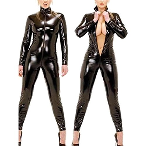 Absir Women Latex Catsuit Open Bust Crotchless Erotic Faux Leather Jumpsuit Porn Bodysuit Lady Clubwear Sexy Fetish Costume Black XXL