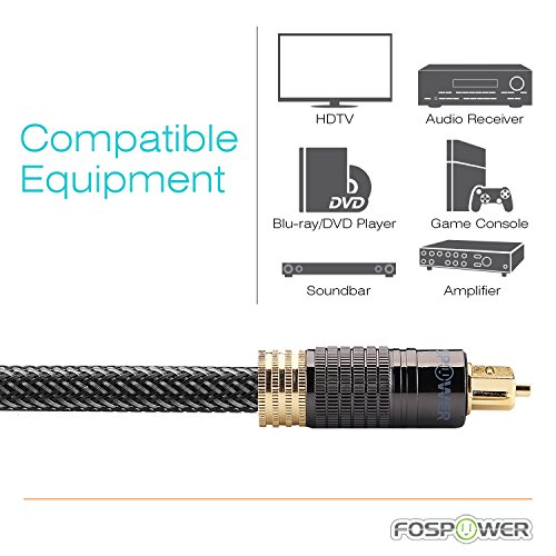 FosPower (3 Feet) 24K Gold Plated Toslink Digital Optical Audio Cable (S/PDIF) - [Zero RFI & EMI Interference] Metal Connectors & Ultra Durable Nylon Braided Jacket