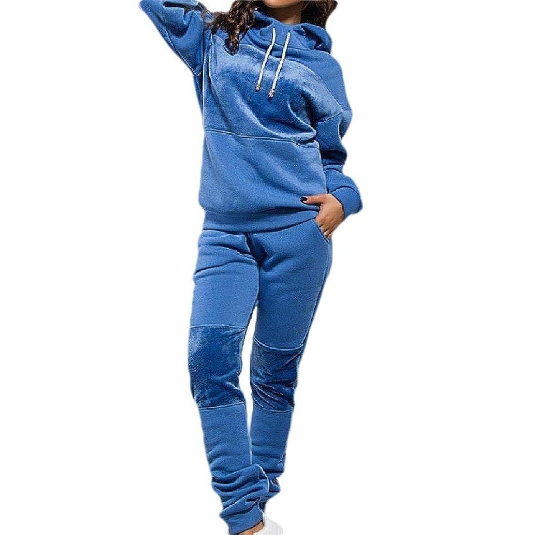 盆とは異なり探検sayahe Women Workout Gym 2pcs Set Casual Hood Fleece Velour Tracksuit Set