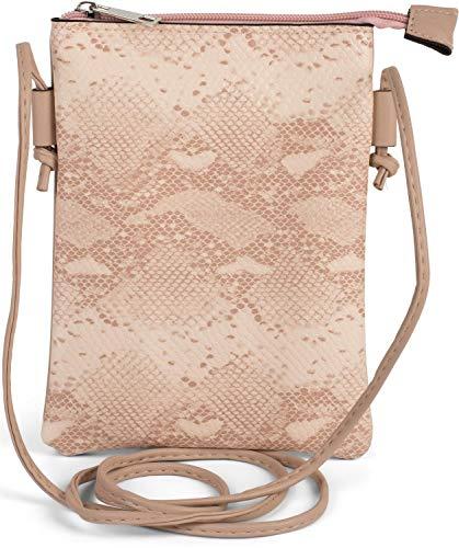 styleBREAKER Damen Mini Bag Umhängetasche in Schlangen Optik, Schultertasche, Handtasche, Tasche 02012305, Farbe:Altrose