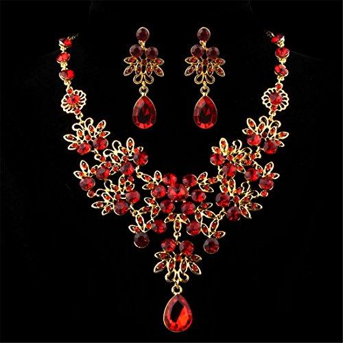 Hemlock Women Bohemia Jewelry Pendant Dance Necklace PartyEarrings (Red2)