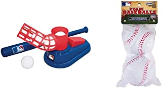 Franklin Sports MLB Baseball Pop A Pitch - Includes 25 Inch Collapsible Plastic Bat and 3 Plastic Baseballs & MLB Replacem...