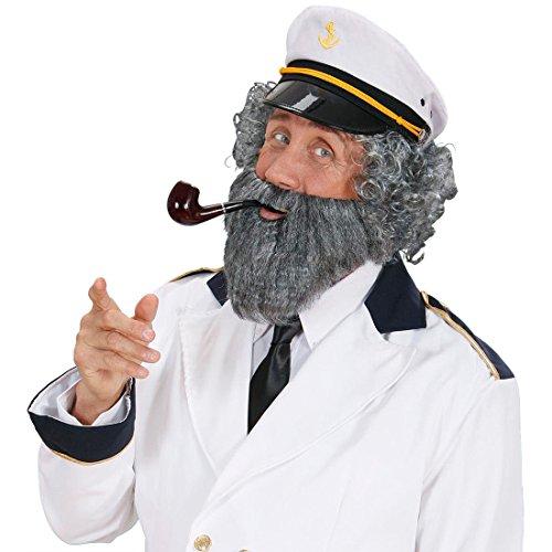 Amakando Barba de marinero gris de abuelo con bigote, barba, barba, capitn, barba, disfraz de carnaval