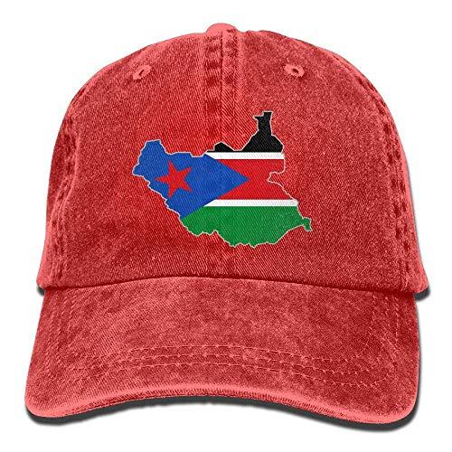Ahdyr Gorra de béisbol Unisex Gorra de Mezclilla teñida en Hilo Mapa de la Bandera de Sudán del Sur Gorra Ajustable Snapback Hiphop-Rojo