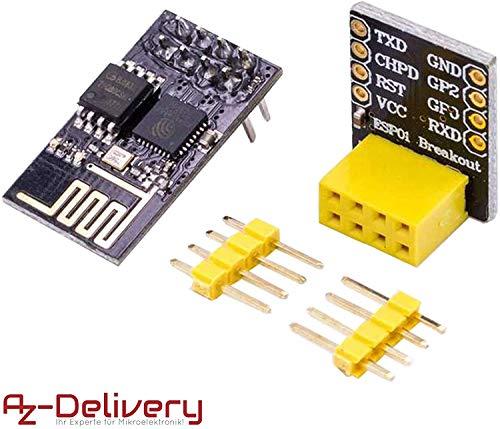 AZDelivery ESP8266-01S ESP-01 Modulo Wifi con adaptador Breadboard con E-Book Incluido!