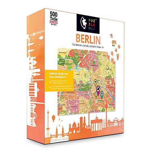 Puzzle de mapa urbano de Berlín, XXL, 500 piezas, incluye folleto y tarjeta plegable, 86 x 46 cm, para adultos y niños, guía de viaje de regalo