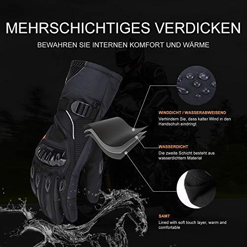 Motorrad Handschuhe Winter Warm Handschuhe Touch Screen Wasserdicht Winddicht Sporthandschuhe ( XL,Schwarz) - 2