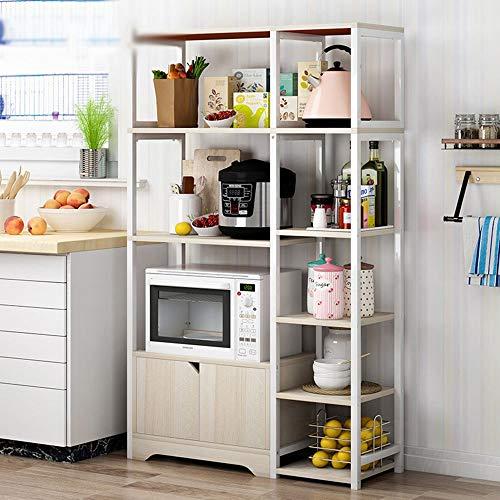 Cuisine de Stockage Chars Rack Vintage Storage Cuisine Baker Shelf Micro-ondes Stand avec étagères Cabinet et 5 de niveau 3 couleurs pour Mini Four Grille Pain ( Color : White , Size : 80x30x122cm )